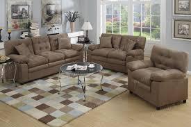 poundex f7910 3 pcs dark brown plush microfiber sofa loveseat