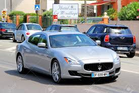 maserati quattroporte 2014 saint tropez france august 3 2014 silver luxury sedan