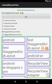 grid layout for android android er staggeredgridlayoutmanager on recyclerview