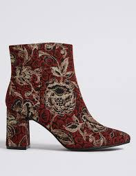 womens boots marks and spencer block heel brocade ankle boots m s