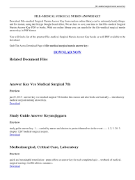 introduction to medical surgical nursing answer key pdf nursing