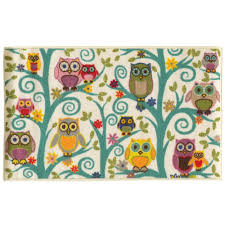 owl home decorations funky owls multicolored youth loop pile area rug 4 u00274 x 6 u00279
