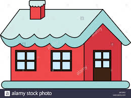 Christmas House by Color Image Cartoon Christmas House With Snow And Chimney Stock