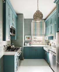 spice kitchen transitional with metallic blue wallpaper inside