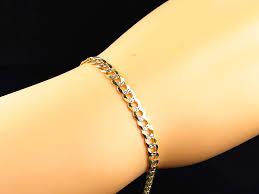 5mm diamond genuine 10k yellow gold diamond cut miami cuban link bracelet