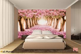 mural forest path from pink trees photo mural forest path from pink trees