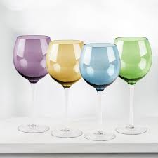 home essentials home essentials and beyond jewel 4 piece colored wine glasses 6492
