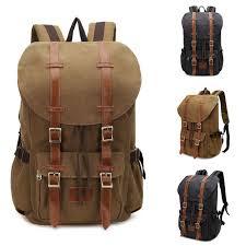 travel backpacks for women images Vintage men 39 s backpack military canvas leather travel backpack jpg