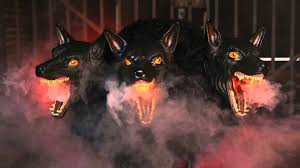 my spirit halloween props cerberus 3 headed dog spirit halloween youtube