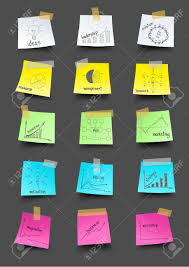 post it note paper with drawing business plan strategy concept