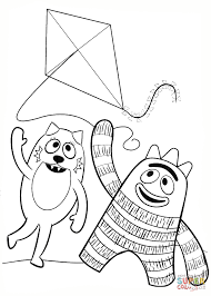 toodee and brobee are playing with kite coloring page free