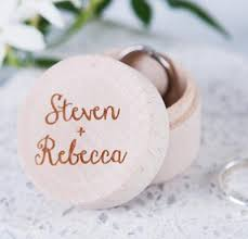 wooden party favors personalised names couples ring bearer boxes wooden wedding ring