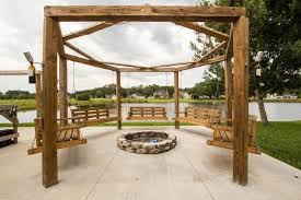 Porch Swing Fire Pit by Contemporary Patio With Porch Swing U0026 Fire Pit In Jacksonville Fl