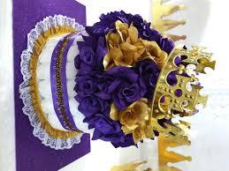purple u0026 gold diaper cake centerpiece for princess baby shower