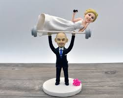 unique wedding cake topper weight lifting groom with spotter