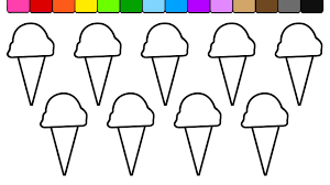 learn colors for kids and color this sweet ice cream coloring page
