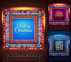 neon square christmas poster vector material neon square christmas