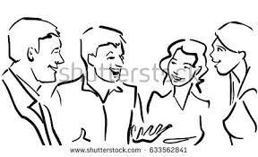 company friends talking animatedly women men stock illustration