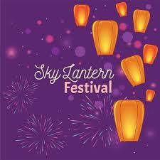 fireworks lantern sky lanterns festival with fireworks free vector