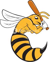 cartoon style illustration of a kiiller bee baseball player