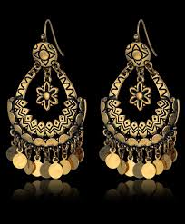 earrings for vintage jewelry gold plated fish flower indian style drop earrings