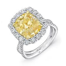 5 carat engagement ring uneek 5 carat cushion cut yellow diamond engagement ring with