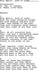 Hymns Of Comfort Catholic Hymns Song Holy Spirit Lord Of Light Lyrics And Pdf