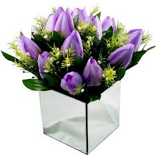 tulip arrangements silk tulip arrangement mauve mirrored vase coco