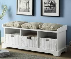 White Storage Bench Indoor Storage Bench With Cushion Dans Design Magz