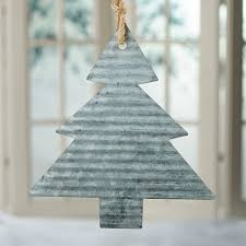 corrugated galvanized metal tree ornament simple