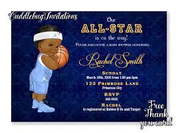 african american basketball boy baby shower invitation