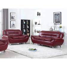 ufe norton burgundy faux leather 2 piece modern living room sofa