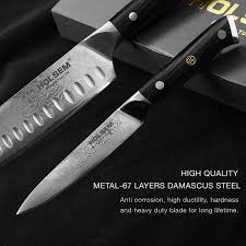 Damascus Kitchen Knives For Sale by Amazon Com Damascus Chef U0027s Knife 2 Piece Set 7 Inch Santoku