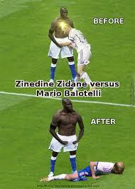 Mario Balotelli Meme - mario balotelli celebration verus zinedine zidane s headbutt foul