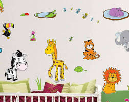 kids room wall design home design ideas animal and jungle wall stickers for baby nursery interior design