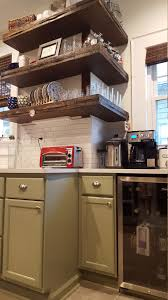 walnut stained metal banded floating shelves walnut kitchen and