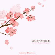 blooming cherry tree branch background vector free