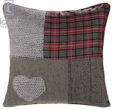 Stag Cushions Ideal Textiles Patchwork Heart Cushion Covers Wool Blend
