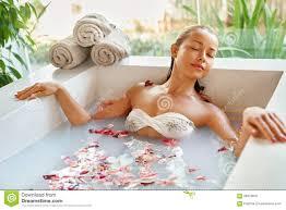 Blumen Bade Badekurort Entspannen Sich Blumen Bad Frauen Gesundheit
