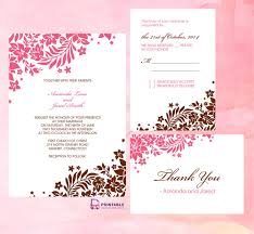 downloadable wedding invitations pink and brown foliage wedding invitation free printable wedding