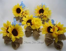 silk corsages rustic sunflower burlap corsages yellow blue silk flowers