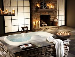 winning relaxing bathroom design ideas featuring cozy soaking tub