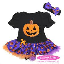 halloween pumpkin baby onesie and pettiskirt tutu by candy bows