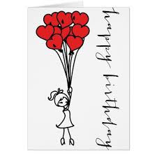 Doodle Birthday Card Girl And Heart Balloons Doodle Happy Birthday Card Zazzle Com