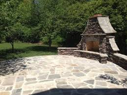 charlotte flagstone patio with outdoor fireplace patios