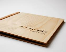 custom engraved wood wedding album modern heirloom romantic