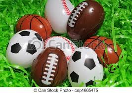 sports easter eggs sports eggs sports easter eggs on green grass stock images