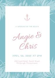 beach wedding invitation templates canva