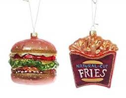fast food burger and fries ornament set glass co