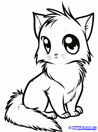 Anime Cat Coloring Pages draw a anime cat step by step drawing sheets added by